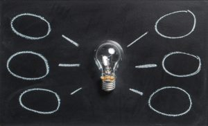 light bulb on a chalk background indicating ideas