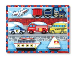 melissa and doug wooden puzzle transportation vehicles