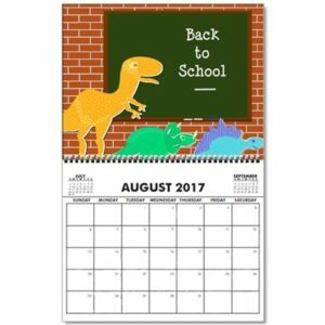 back to school calendar for the month of august