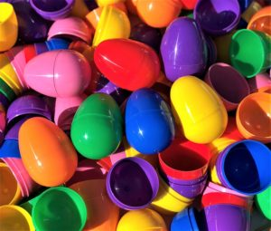 plastic colorful easter eggs