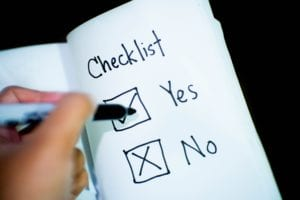 Check list with check box next to yes and no