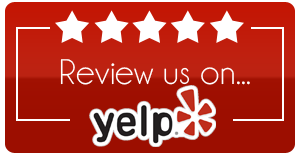 5 stars with text that says review us on yelp