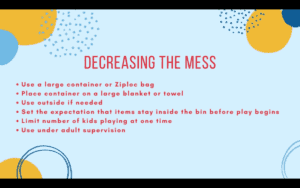 blue background with blue, yellow, and red doodles around the edges. Red text reads tips for decreasing mess.
